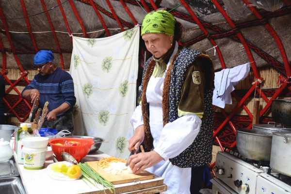 Our cook works at the foot of Lenin Peak